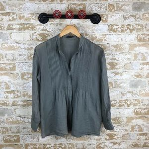 Theory lagenlook button down blouse